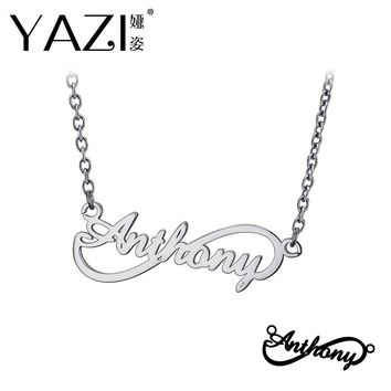 YAZI Personalized Name Necklace Gold Color Copper Infinity Pendant Engraved Single Name Custom Jewelry Memory Gift For Friend
