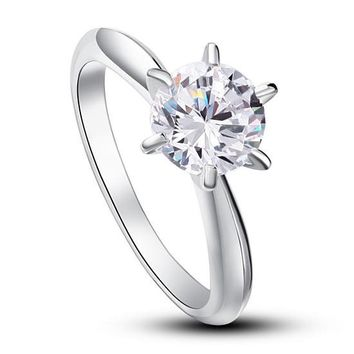 6 Claws Created Diamond Engagement Ring 925 Sterling Silver Classic