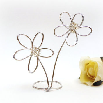 Wedding Cake Topper- Beaded Wire Daisy Flowers Silver