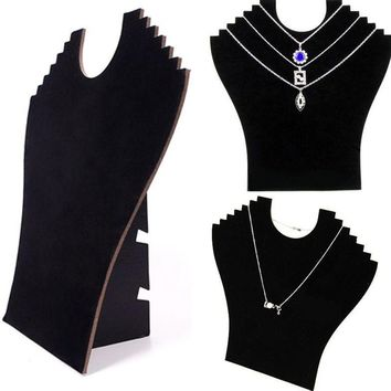 Fashion Easel Black Necklace Bust Stand Neck Jewelry Pendant Chain Velvet Display Holder