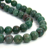 African Jade Beads, 10mm round green gemstone, full strand (708S)