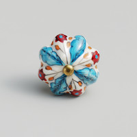 Blue and Red Floral Ceramic Knobs, Set of 2 - World Market