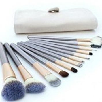 G2PLUS® 12 PCS Professional Makeup Brush Set Hot Horse Hair Professional Cosmetics Brushes Kit with Beige Case Bag+ 1 Piece White Round Facial Sponge Loose Powder Puff with Satin Ribbon