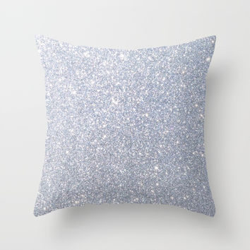 Silver Metallic Sparkly Glitter Throw Pillow by podartist