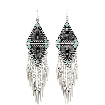 Women Ethnic Vintage Silver Plated Tassels Chunky Statement Drop Long Earrings For Women Jewelry