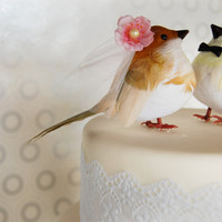 Dapper Bird Wedding Cake Topper in White, Yellow and Cherry Blossom Pink