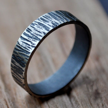 Men's Oxidized Distressed Rustic Bark Wedding Band