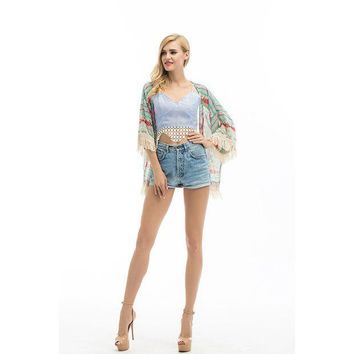 CREYYN6 2017 New Fashion Women Boho Fringe Floral Kimono Cardigan Tassels Cape Chiffon Three Quarter Shirt
