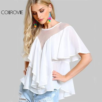 COLROVIE Mesh Cut White Blouse Flounce Ruffle Tops 2017 Women Sexy Patchwork Summer Tops Waterfall Elegant Sheer Tunic Blouse