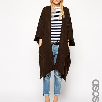 ASOS TALL Cape Cardigan In Rib