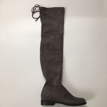 Suede Over the Knee Flat Boots up to Size 12 (26.5cm EU 43)
