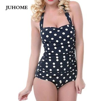 2017 Summer Women Fashion Black Dots Bandage Sleeveless Halter Sexy Off Shoulder Off Shoulder Open Back Bodysuit Club Jumpsuit