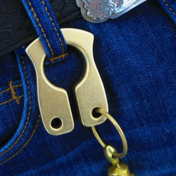 Copper brass key ring hanging buckle 10 mm thickness EDC self-defense survival tool outdoor camping trip handy tool