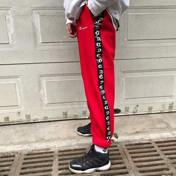 Champion Men Fashion Print Sport Stretch Pants Trousers Sweatpants Red G