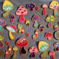25 Pc Retro Mushrooms Lot No Sew Iron On Handcut Applique Cotton Toadstool Patch