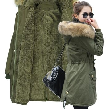 2017 New Winter Jacket Women Faux Fur Coat With Hood Winter Jacket Thicken Solid Female Military Long Parka Abrigos Plus Size