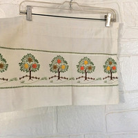 Kitchen Valance Green Valance Yellow Valance 70s Valance Embroidered Valance Orange Valance Window Valance Tree Decor Tree Decoration Retro