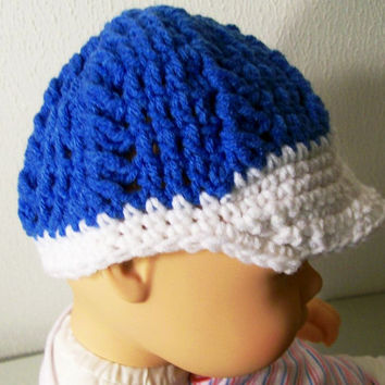 Blue White Bib Beanie Hat--No.2-Crochet --Made in the USA--Baby Shower Gift--Made to Order