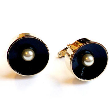 Vintage Faux Pearl Cuff Links - Signed Sarah Coventry - Mid Century Modern - Silver Tone Black Inset Circles - MidMod Design - Wedding Groom