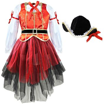 Carnival Halloween Dresses Christmas Pirate Girls Party Cosplay Costume for Children Kids Dress Hat Outfits Clothing for Gifts