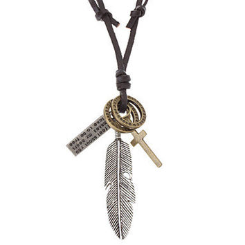 soft leather necklace bronze feather necklace men's leather long necklace, women's leather necklace friendship gift X020