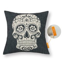 OJIA New Beautiful Mexican Candy Skulls Bonehead 18 X 18 Inch Cotton Linen Decorative Throw Cushion Cover / Pillow Sham (New Arrival)