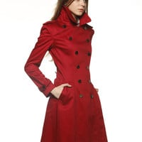 Wine Red Big Lapel Cotton fitted dress coat by Sophiaclothing