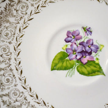 Vintage Violet Saucer Set of 4 Gold trim Purple Green Decorative Plate PanchosPorch
