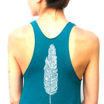 Womens Feather Tank Top - American Apparel Racerback Tank Top - XS, Small, Medium, Large