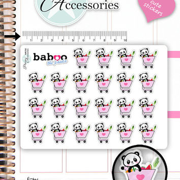 Kawaii  Shopping Stickers Cute Baboo Panda Stickers Purchase Stickers Planner Stickers Functional Stickers Decorative Stickers NR792