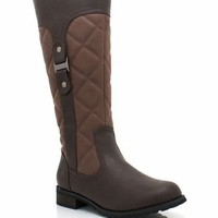 quilted-boots BLACK BROWN - GoJane.com