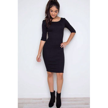 V-Back Black Bodycon Midi Dress