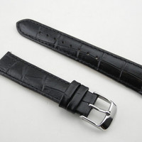 18 mm Black Genuine Calf Leather Crocodile Grain Watch Strap with Polished Stainless Steel Buckle T001