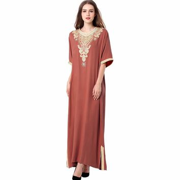 Muslim women Long sleeve Dubai Dress maxi abaya islamic women vintage dress clothing robe kaftan Moroccan fashion embroidey1605