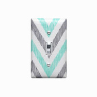 Chevron Light Switch Plate Cover / Aqua Mint Gray and White / Gender Neutral Baby Girl Boy Nursery Decor / Kids Room /  Organic Fabric