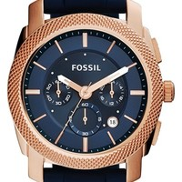Men's Fossil 'Machine' Chronograph Silicone Strap Watch, 45mm - Blue/ Rose Gold