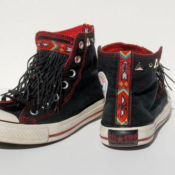 the navajo leather fringe studded converse allstars black coachella festival boh