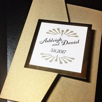 Art Deco Gold Pocketfold Wedding Invitation - ASHLEY VERSION