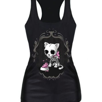 New Butterfly Knot Cat Skull Print Women t-shirt Summer Fashion Black Camisole Sexy Female