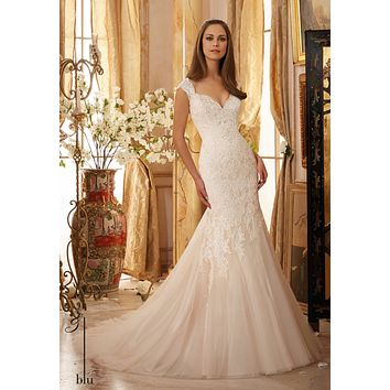 Blu by Mori Lee 5472 Low Back Lace Fit & Flare Wedding Dress