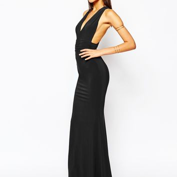 Club L Open Back Strap Detail Maxi Dress With Fishtail