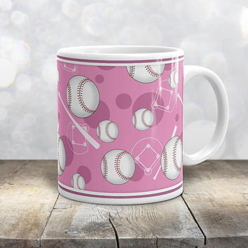 Pink Baseball Mug - Sports Themed Baseball Pattern on Pink - 11oz or 15oz - Made to Order
