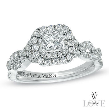 Vera Wang LOVE Collection 1 CT. T.W. Princess-Cut Diamond Double Frame Twist Engagement Ring in 14K White Gold