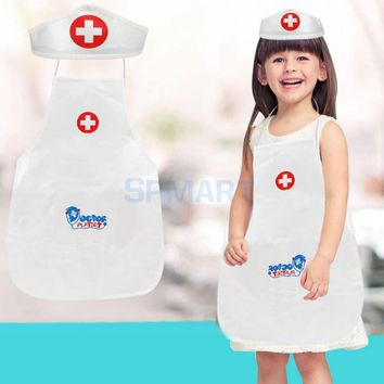 Kids Baby Toddler Pretend Doctor Nurse Role Fun Play Accessory Uniform Clothes Hat Suit Doll Educational Toy Learning Resources