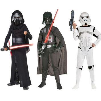 Star Wars Force Episode 1 2 3 4 5 2018 Deluxe Child Movie  The Force Awakens Villain Character Darth Vader Chrldren Clothes Halloween Cosplay Costumes AT_72_6