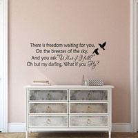 There Is Freedom Waiting For You Wall Decal Quote, Erin Hanson Literary Quotes, Inspirational Vinyl Wall Decal Quote, Living Room Decor K156