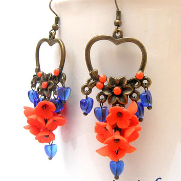 Flower earrings - Heart earrings - Dangle earrings - Orange blue - Handmade earrings