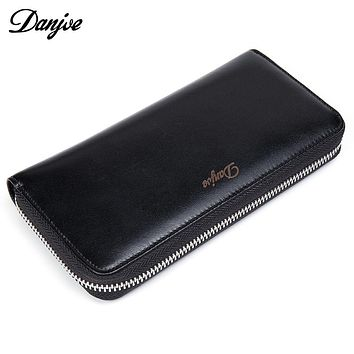 Genuine Leather Men Wallets Long Coin Purses Big Capacity Card Holder Cowhide Day Clutch Phone Money Bag