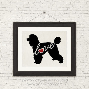 Standard Poodle Love - Burlap or Canvas / Wall Art Print for Dog Lovers: Great Gift / Personalized (Free Shipping)