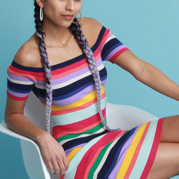 Colorful Striped Ribbed Knit Bardot Dress | UrbanOG